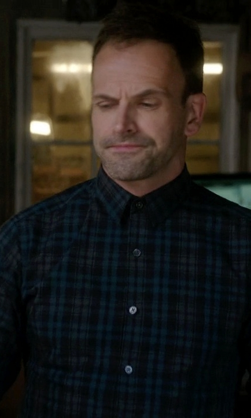 Jonny Lee Miller with Gitman Brothers Vintage Tonal Plaid Shirt in Elementary
