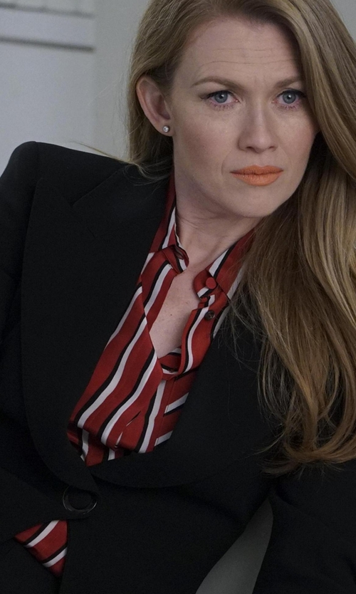 Mireille Enos with Altuzarra Striped Silk Crepe De Chine Shirt in The Catch