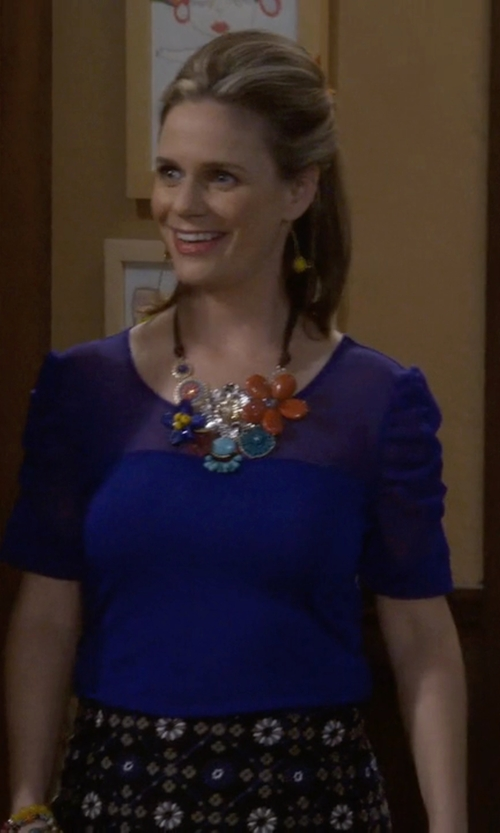 Andrea Barber with Harlowe & Graham Snap Side Knit Back Blouse in Fuller House