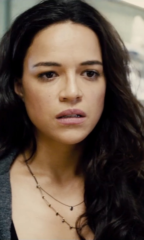 Michelle Rodriguez with Roberto Coin White & Yellow Gold Station Diamond Necklace in Furious 7