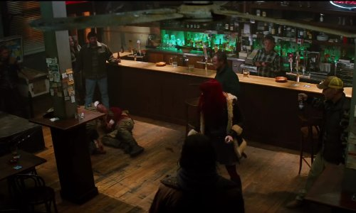 Hugh Jackman with The Hopetoun Hotel (Depicted As Yukon Bar) Surry Hills, Australia (Depicted As Yukon, Canada) in The Wolverine