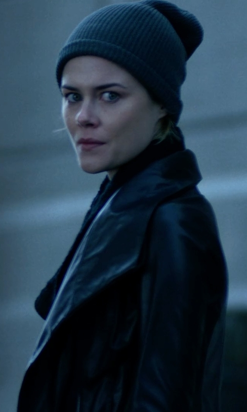 Rachael Taylor with Vince Leather Scuba Jacket in Jessica Jones