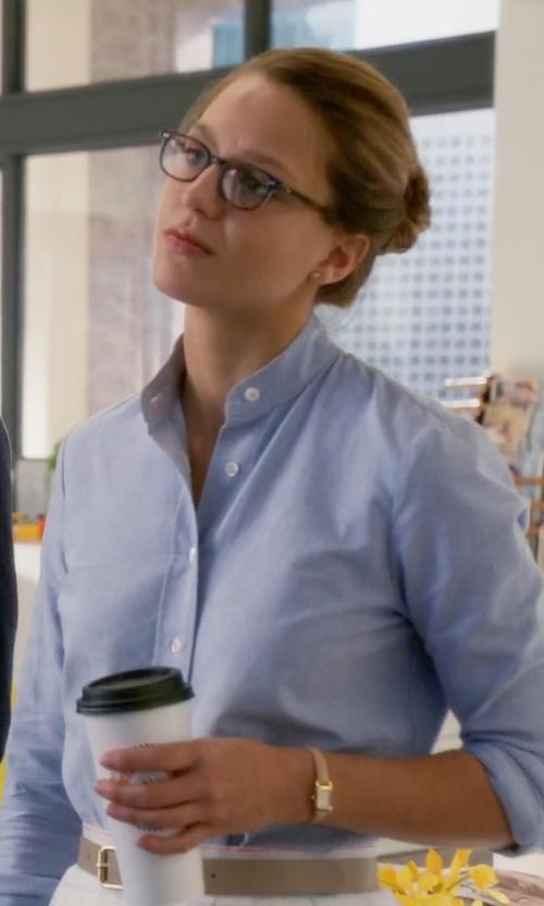 Melissa Benoist with Frame Denim Oxford Tunic Shirt in Supergirl