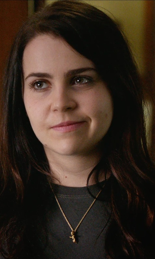 Mae Whitman with GoldenMine Teddy Bear Charm Pendant Necklace in The DUFF