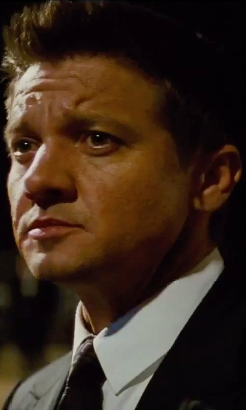 Jeremy Renner with Dolce & Gabbana White Gold-Fit Cotton-Blend Shirt in Mission: Impossible - Rogue Nation