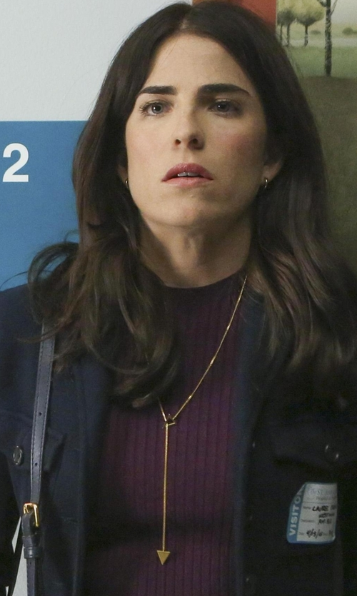Karla Souza with Jennifer Zeuner Jewelry Sasha Lariat Necklace in How To Get Away With Murder