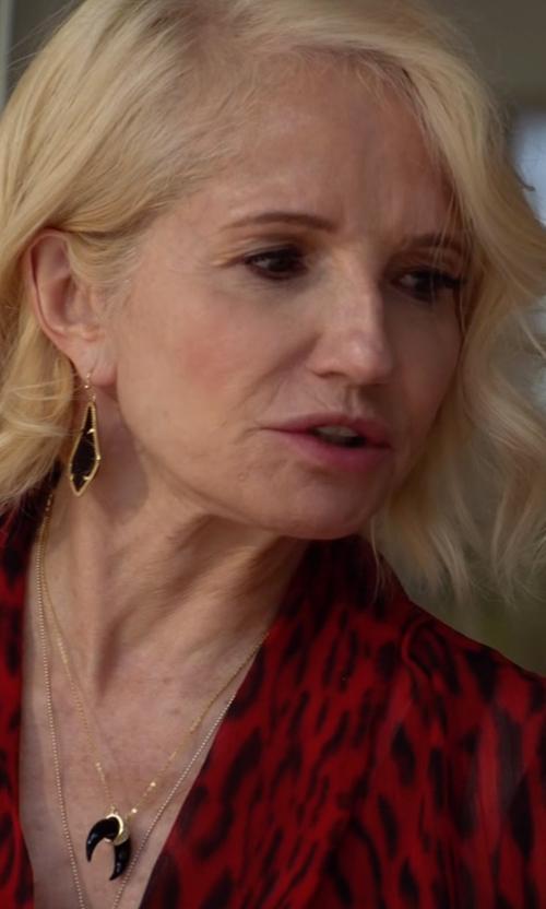 Ellen Barkin with Lana Reckless Black Diamond Crescent Necklace in Animal Kingdom