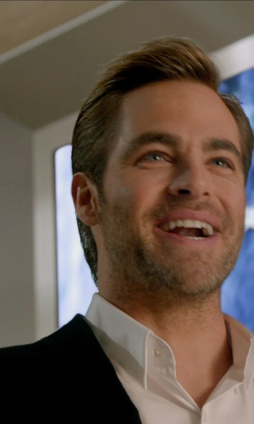 Chris Pine with Lanvin 'Attitude' Black Wool Suit in Horrible Bosses 2