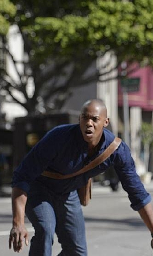 Mehcad Brooks with Ledonne Distressed Leather Bag in Supergirl