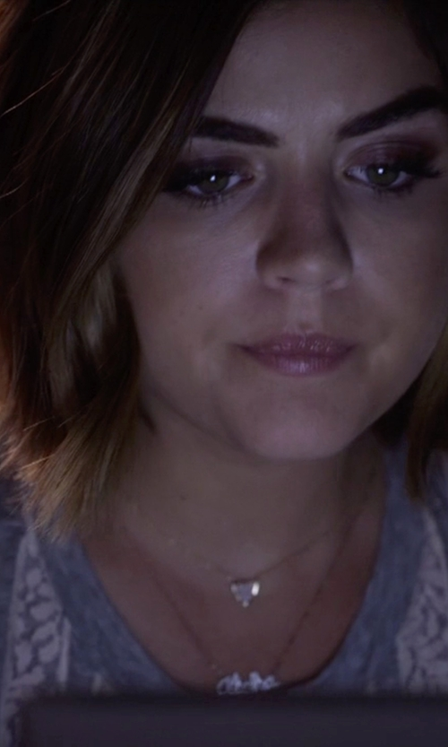 Lucy Hale with Maui Divers Jewelry Aloha Necklace With Diamonds in Pretty Little Liars