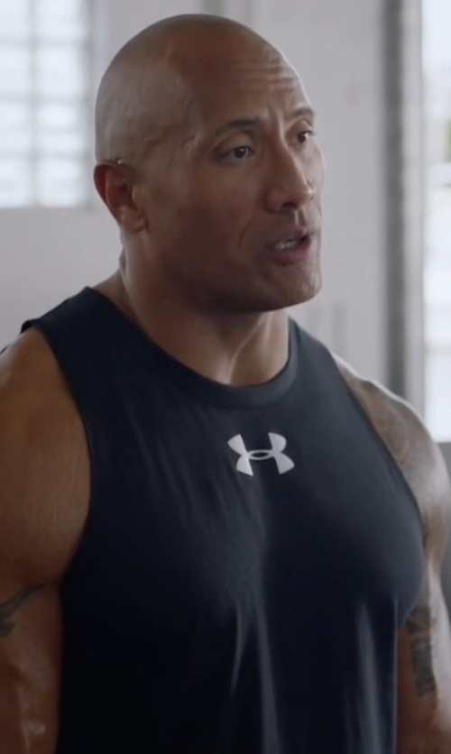 Dwayne Johnson with Under Armour Charged Cotton Jus Sayin Too Tank Top in Ballers
