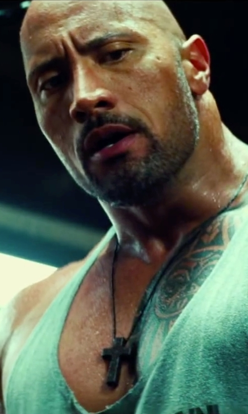 Dwayne Johnson with Religious Gifts Christian Jewelry Dark Wood Latin Cross Pectoral Pendant with Rope Chain Necklace in Pain & Gain