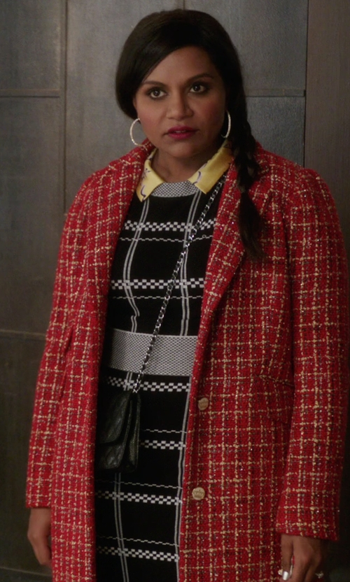 Mindy Kaling with A.L.C. 'Ruley' Embroidered Checks Pencil Skirt in The Mindy Project