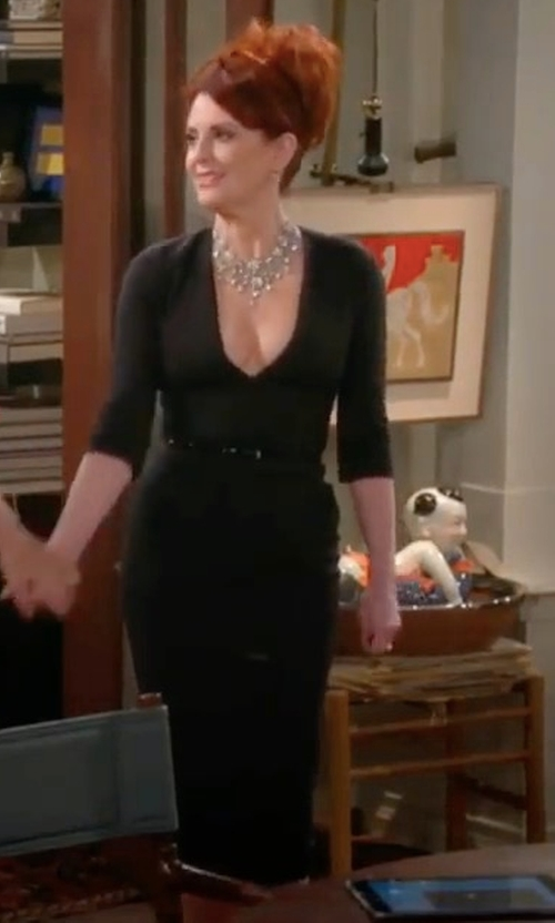 Megan Mullally with James Perse V-Neck Ruched Dress in Will & Grace