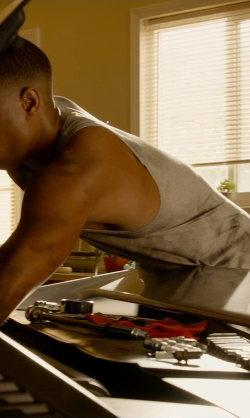 Michael B. Jordan with Allsaints Figet Tank Top in Fantastic Four