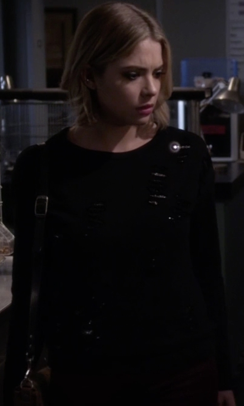 Ashley Benson with Design History Sequin Cropped Sweater in Pretty Little Liars