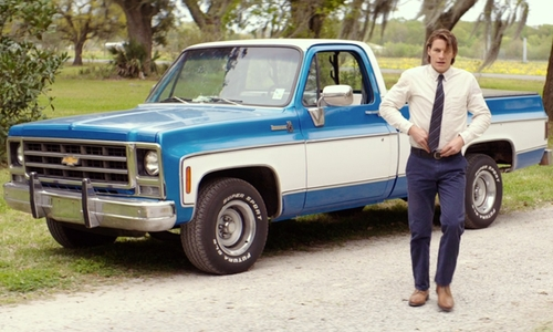 Luke Bracey with Chevrolet C-10 Pickup Truck in The Best of Me