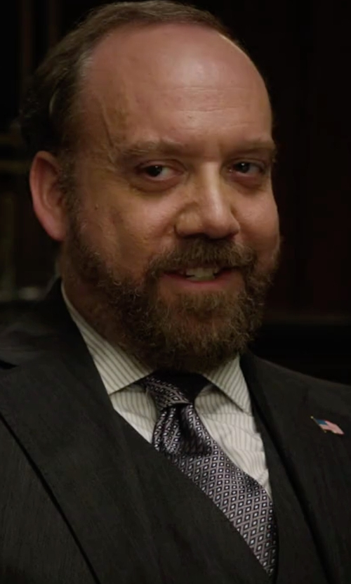 Paul Giamatti with Emma Willis Printed Silk Tie in Billions