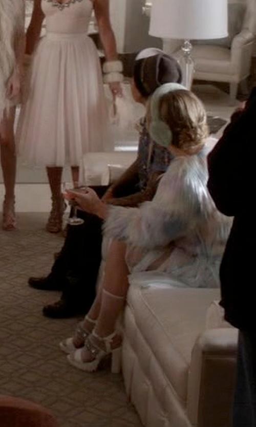 Billie Lourd with Miss Selfridge Sofia Embellished Sandals in Scream Queens