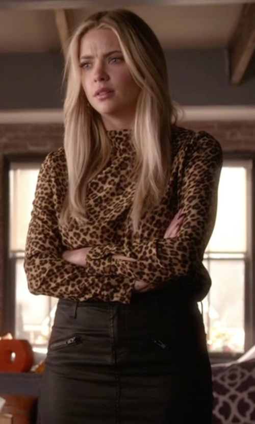 Ashley Benson with Saint Laurent   Leopard Print Blouse in Pretty Little Liars