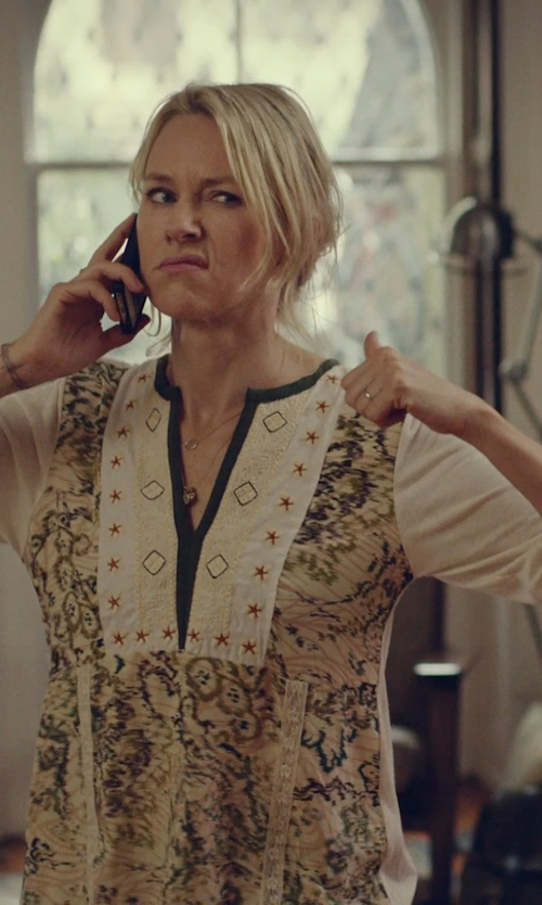Naomi Watts with Johnny Was Collection Leanna Embroidered Georgette Tunic in While We're Young