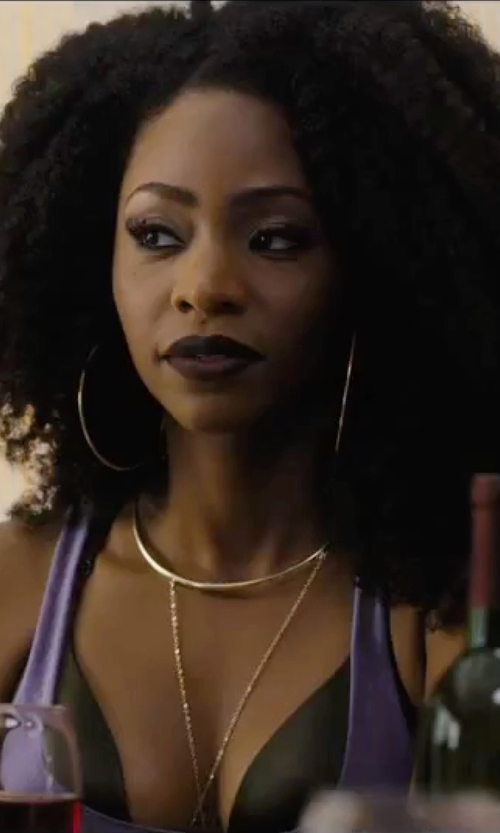 Teyonah Parris with Express Collar & Pendant Necklace in Chi-Raq