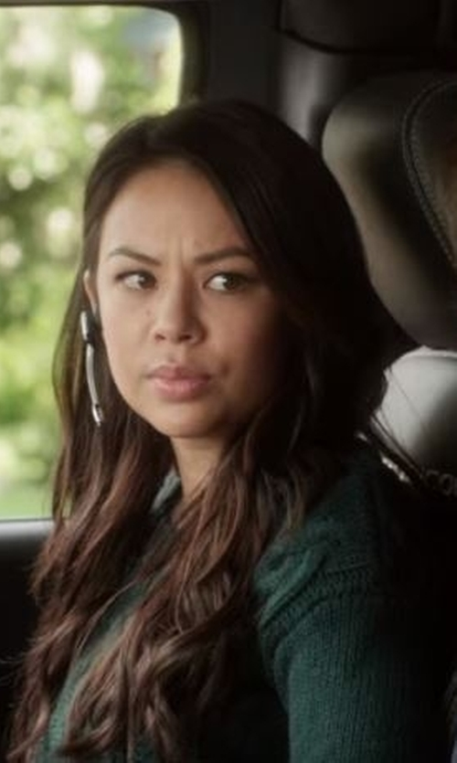Janel Parrish with Jil Sander Navy Cashmere Blend Sweater in Pretty Little Liars