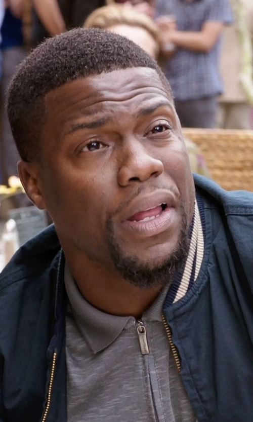 Kevin Hart with Perry Ellis Short Sleeve Textured Zip Polo Shirt in Get Hard
