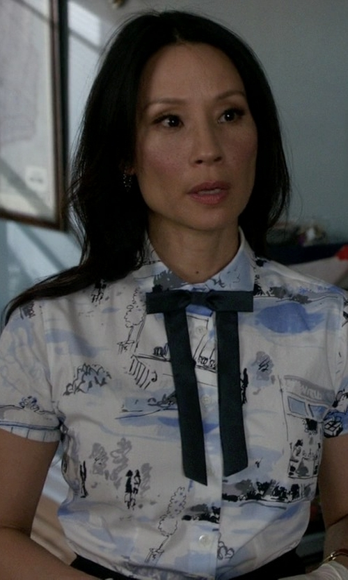 Lucy Liu with Acne Studios Short Sleeve Shirt in Elementary