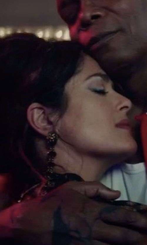 Salma Hayek with Rosantica Grappolo Beaded Dangle Drop Earrings in The Hitman's Bodyguard