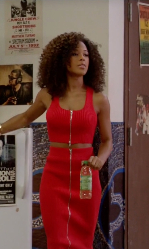 Serayah with T By Alexander Wang Ribbed Knit Cropped Top in Empire