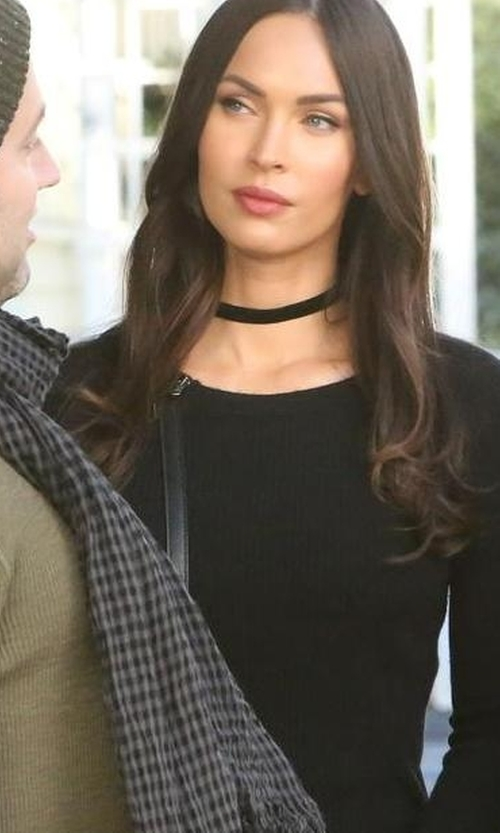 Megan Fox with Tory Burch Mini Leather Saddle Bag in New Girl