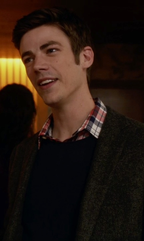 Grant Gustin with Ice Iceberg Wool Blazer in The Flash