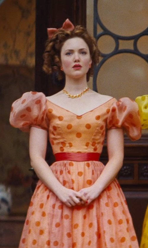 Holliday Grainger with Sandy Powell (Costume Designer) Custom Made Orange Polka Dot Dress (Anastasia) in Cinderella