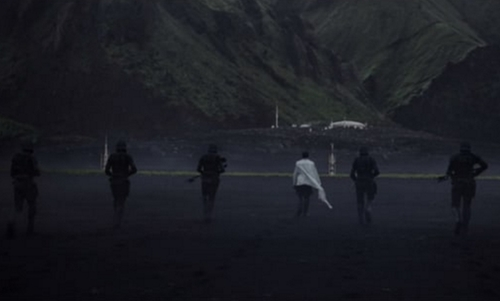 Unknown Actor with Mýrdalssandur Beach (Depicted as Planet Lah'mu) Vík í Mýrdal, Iceland in Rogue One: A Star Wars Story