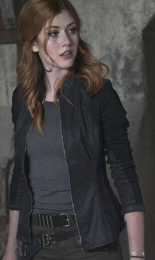 Katherine McNamara with G-Star Raw Lynn Zip Super Slim Shirt in Shadowhunters