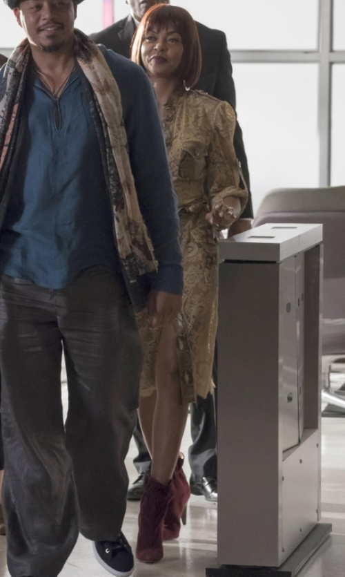 Taraji P. Henson with Derek Lam Carmen Elastic Cone Heel Booties in Empire