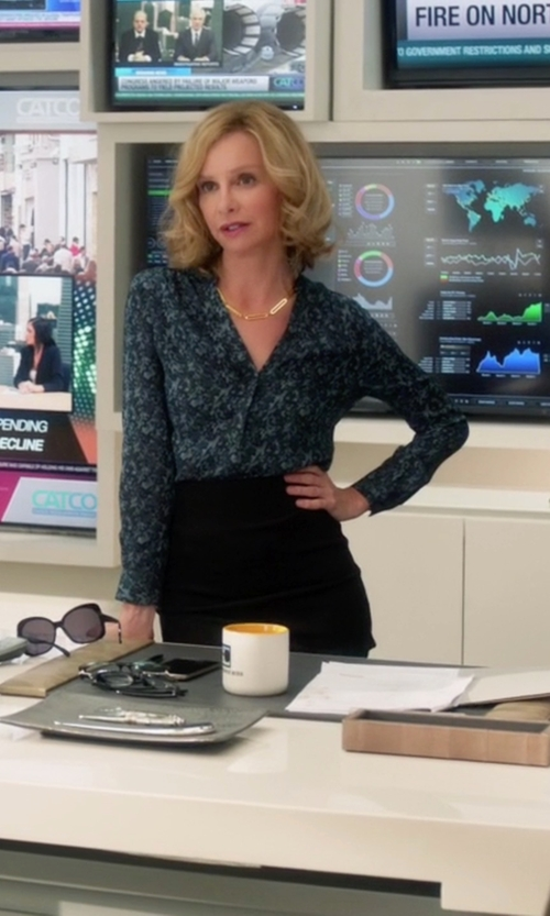 Calista Flockhart with Dylan Gray Printed Silk Blouse in Supergirl