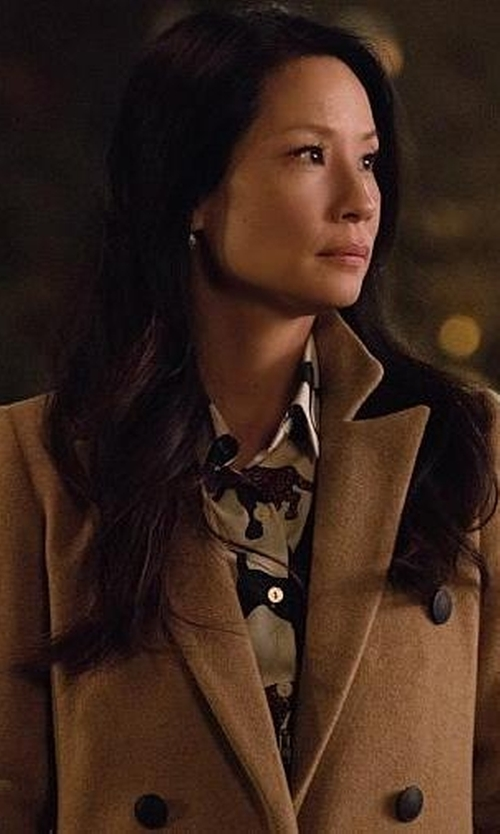 Lucy Liu with Cinzia Rocca Double Breasted Wool & Cashmere Coat in Elementary