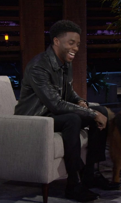 Chadwick Boseman with Topman Leather Harrington Jacket in Chelsea