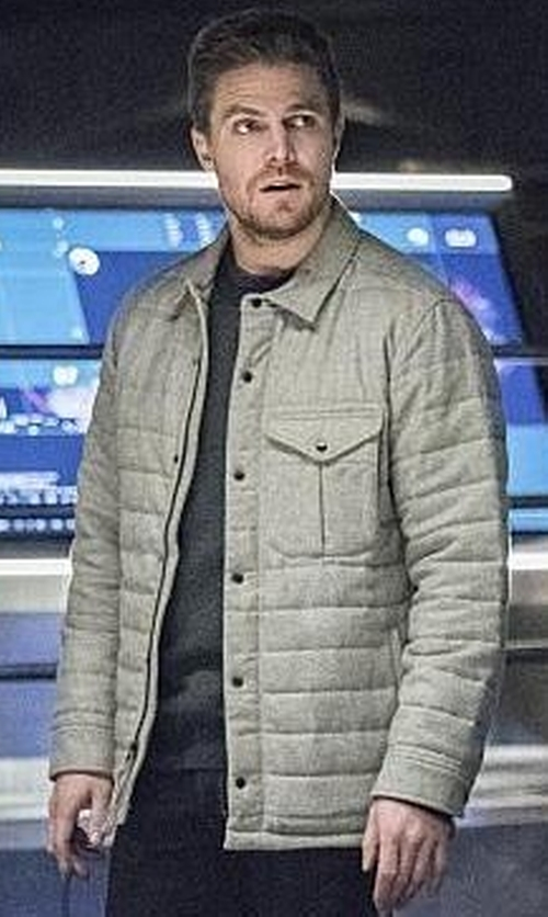 Stephen Amell with Relwen Quilted Field Jacket in Arrow