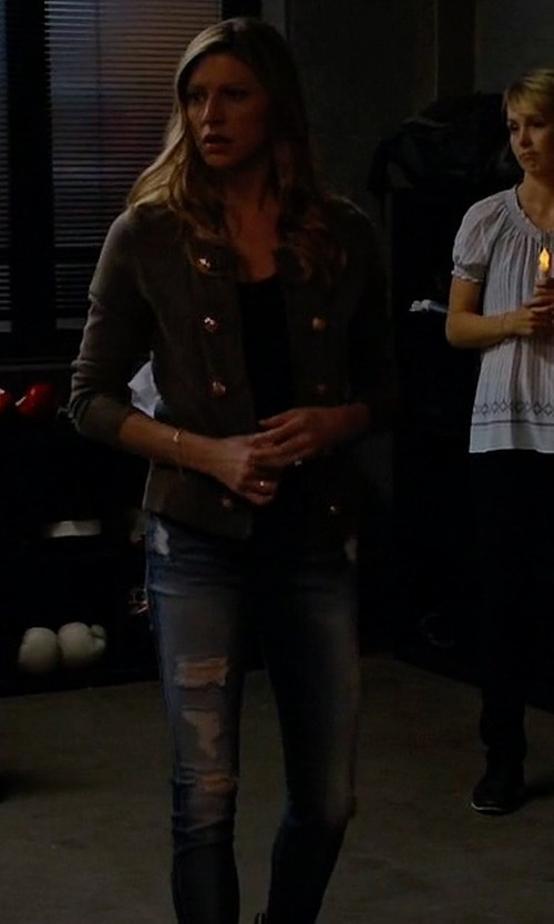 Jes Macallan with 7 For All Mankind Destroyed Ankle Skinny Jeans  in Mistresses