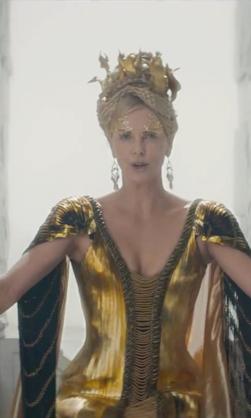 Charlize Theron with Colleen Atwood (Costume Designer) Custom Made 'Ravenna' Golden Gown in The Huntsman: Winter's War