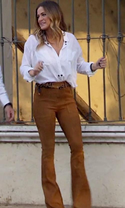 JoJo Fletcher with Frame Denim Le Flare De Francoise Suede Pants in The Bachelorette