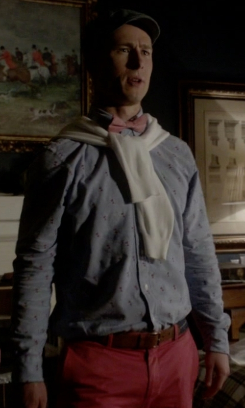 Glen Powell with Original Penguin Mini Cabin Print Oxford Shirt in Scream Queens