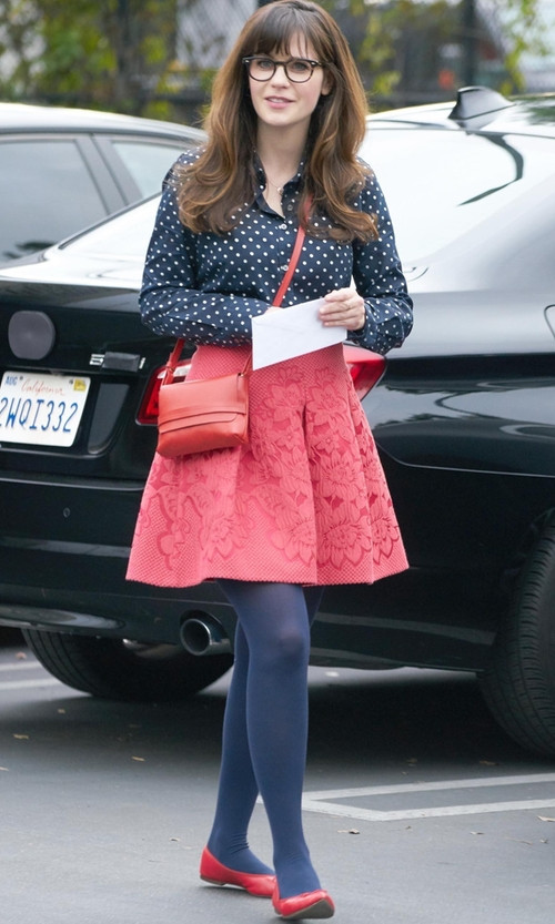 Zooey Deschanel with Stefanel Ballet Flats in New Girl