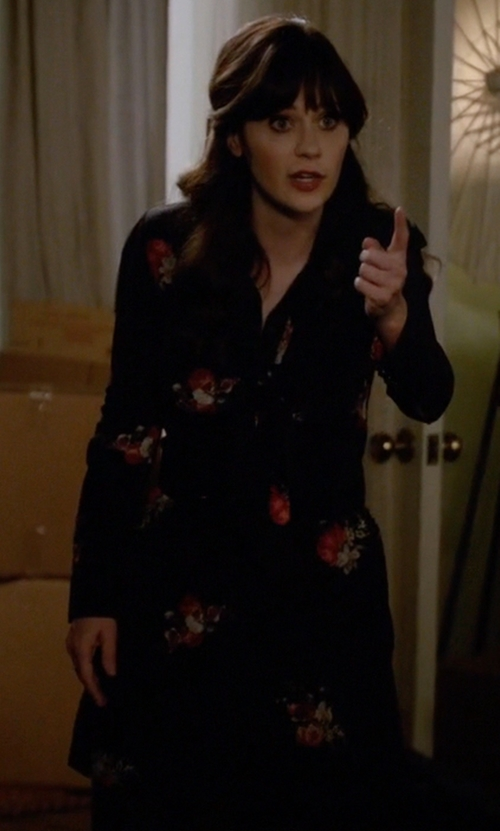 Zooey Deschanel with The Kooples Flower Print Dress in New Girl