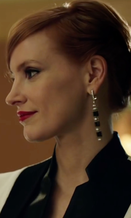 Jessica Chastain with L. Erickson 'Viola' Drop Earrings in Miss Sloane