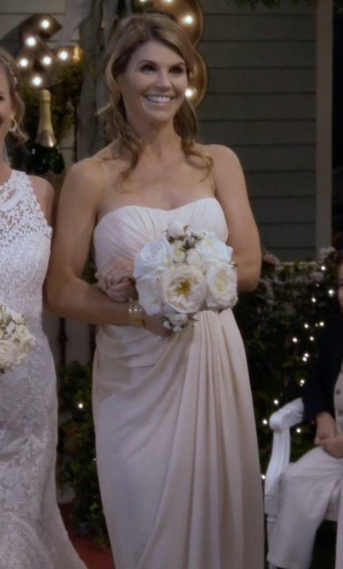 Lori Loughlin with Badgley Mischka Draped Silk Gown in Fuller House