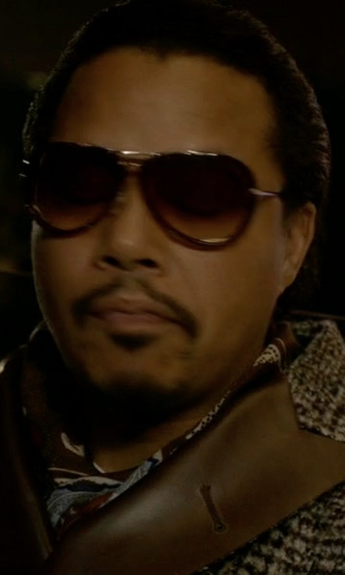 Terrence Howard  with Burberry Men's Check-Temple Metal Aviator Sunglasses in Empire